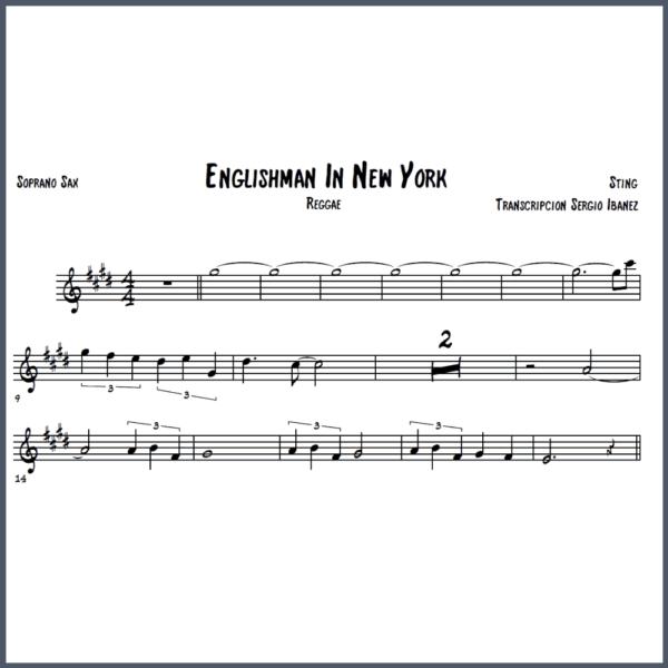 Englishman In New York - Sting Partitura Saxofón
